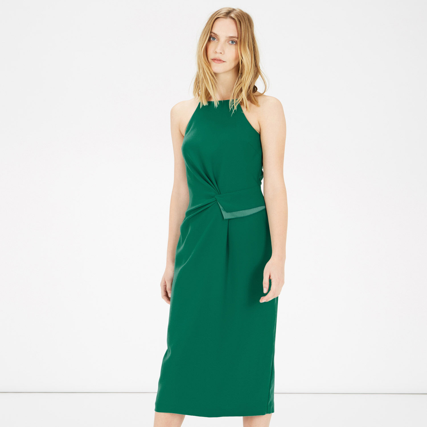 Warehouse, STRAPPY GATHERED CREPE DRESS Bright Green 1