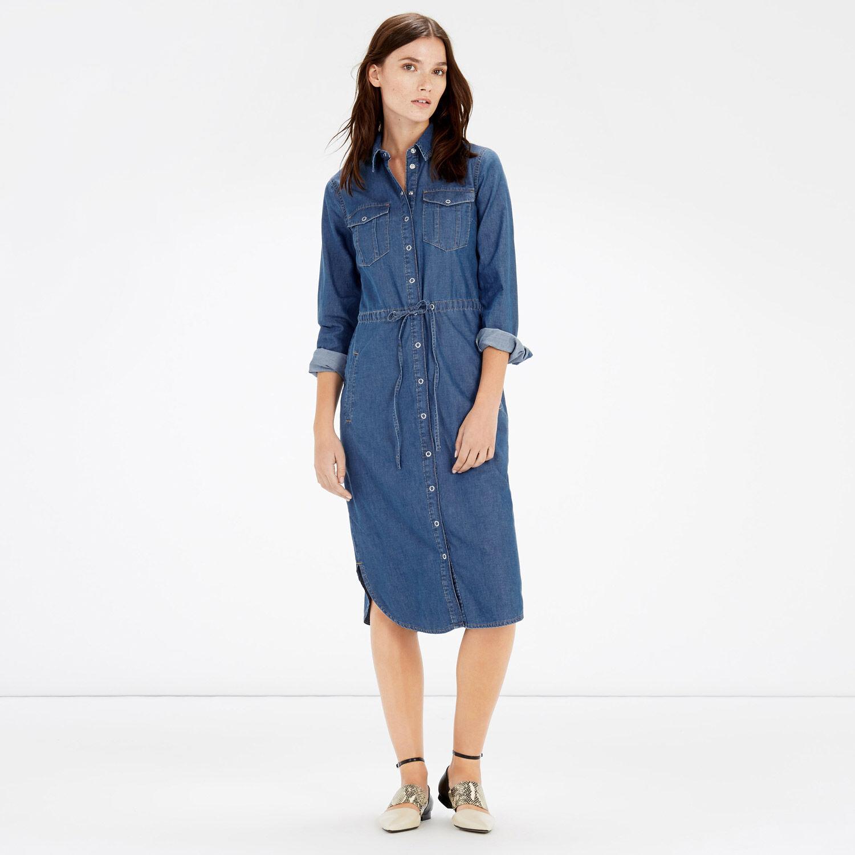 Warehouse, Curved Hem Tie Detail Dress Mid Wash Denim 1