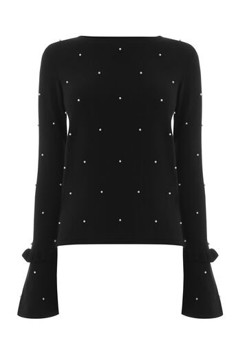 Warehouse, PEARL FLARE CUFF JUMPER Black 0