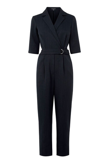 Warehouse, TAILORED LAPEL JUMPSUIT Navy 0