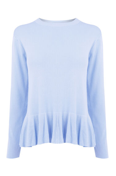 Warehouse, FRILL HEM JUMPER Light Blue 0