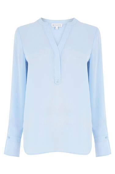 Warehouse, TAB PLACKET BLOUSE Light Blue 0