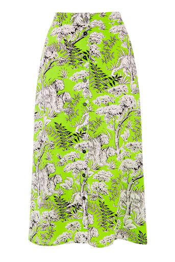 Warehouse, TIGER PRINT MIDI SKIRT Green Print 0