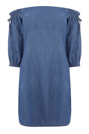 Warehouse, BARDOT DENIM DRESS Mid Wash Denim 0