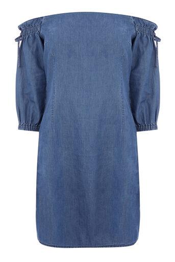 Warehouse, BARDOT DENIM DRESS Mid Wash Denim 0