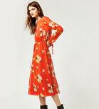 Warehouse, VICTORIA FLORAL CHIFFON DRESS Orange 3