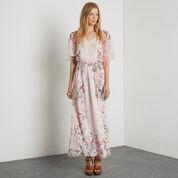 Warehouse, Silk Placement Bird Maxi Dress Multi 1