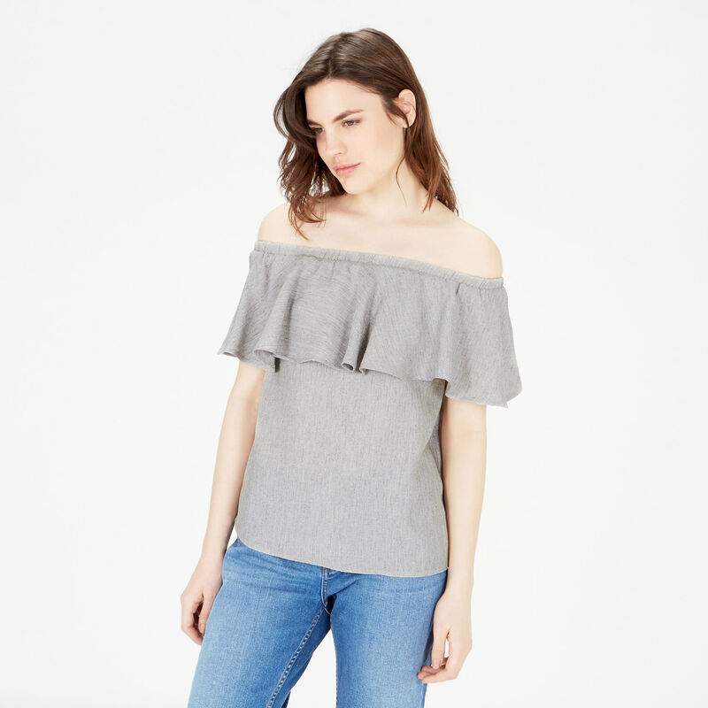 Warehouse, OFF SHOULDER RUFFLE TOP Light Grey 1