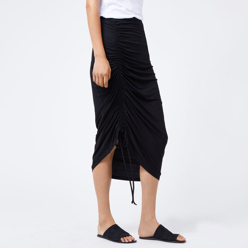 Warehouse, RUCHED FRONT MIDI SKIRT Black 1