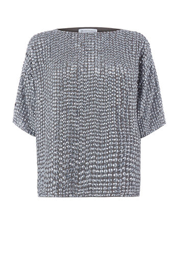 Warehouse, DOME SEQUIN T SHIRT Silver Colour 0