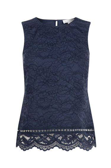 Warehouse, BONDED LACE SHELL TOP Navy 0
