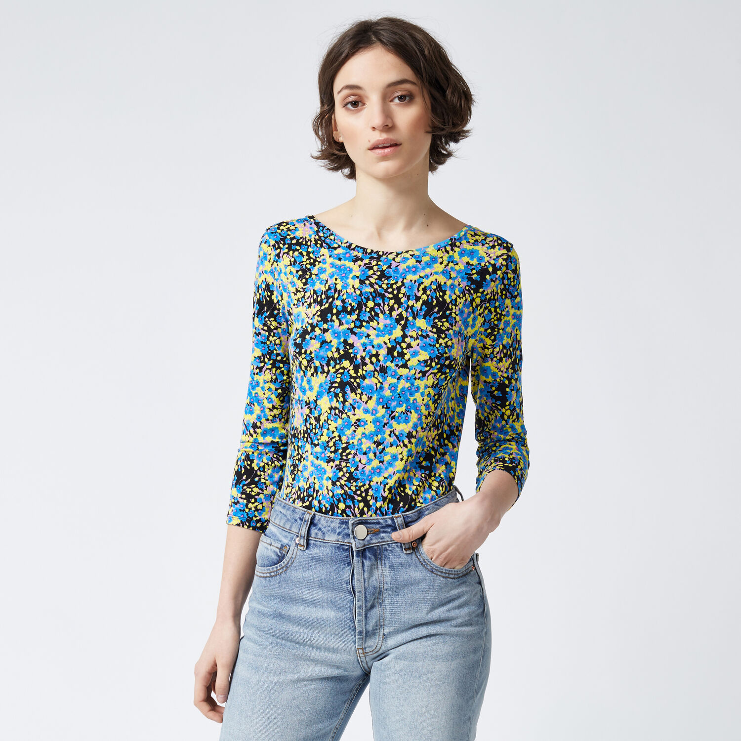 Warehouse, DITSY PRINT SCOOP BACK TOP Blue Pattern 1