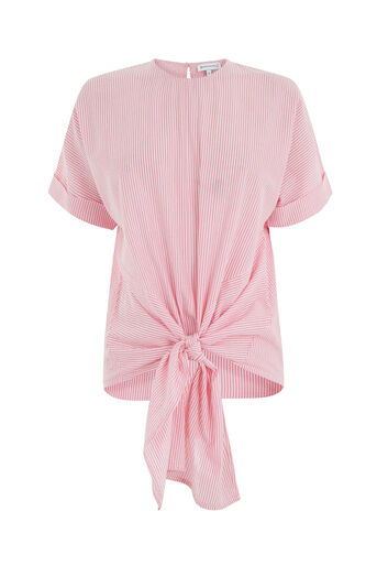 Warehouse, TIE FRONT STRIPE TOP Pink Stripe 0