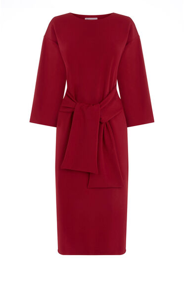Warehouse, TIE WAIST CREPE DRESS Dark Red 0