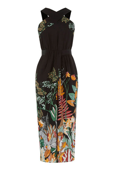 Warehouse, Jungle Print Midi Dress Black Pattern 0