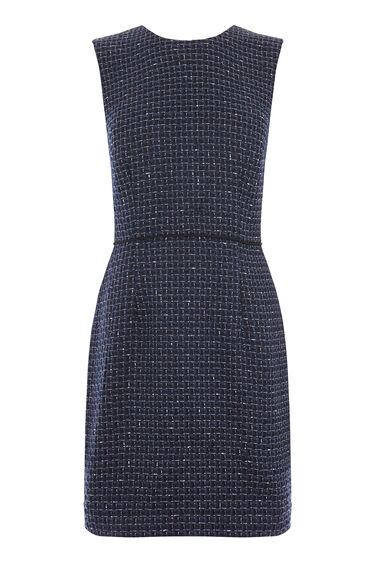Warehouse, LUPITA TWEED SHIFT DRESS Navy 0