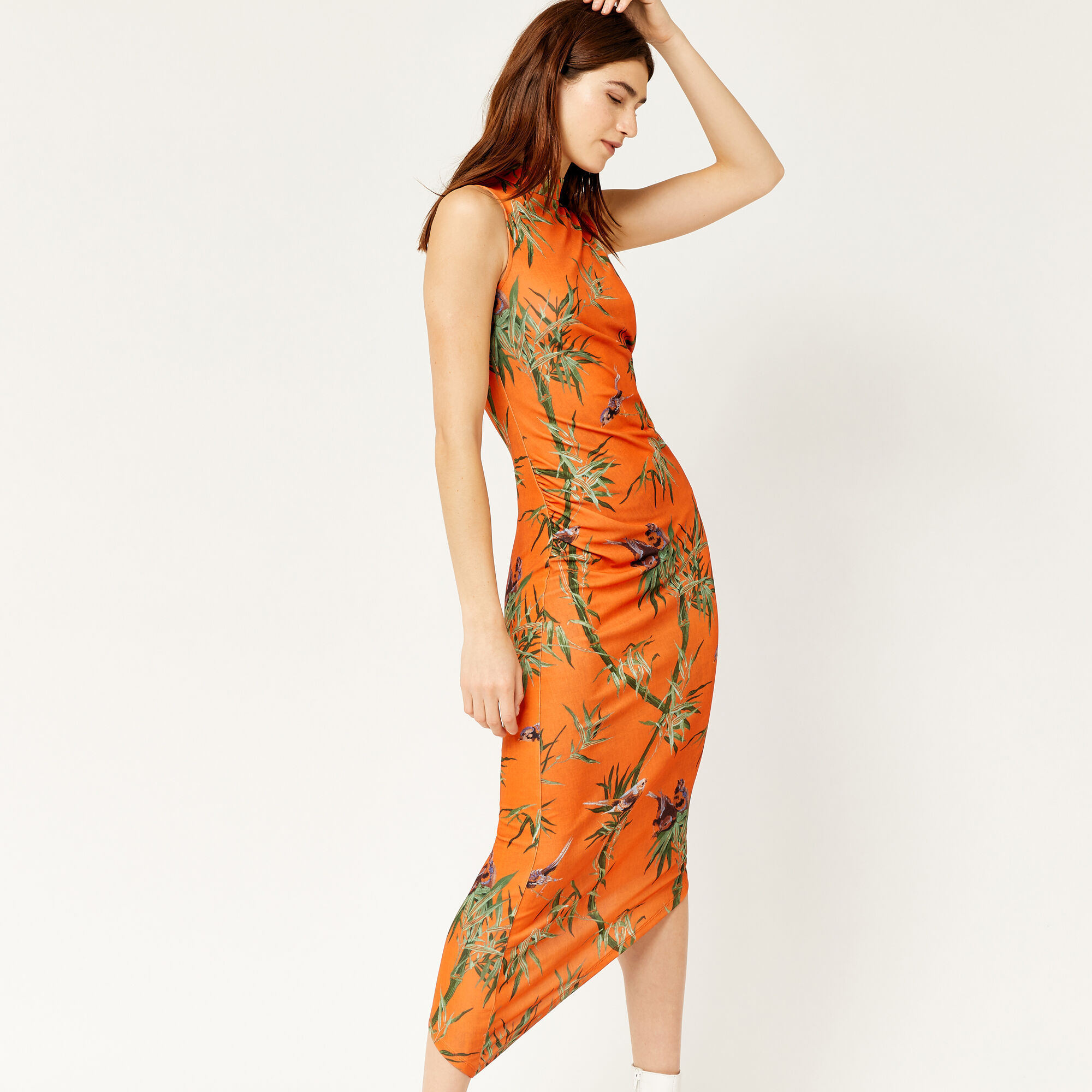 Warehouse, SONGBIRD ASYMMETRIC DRESS Orange 1