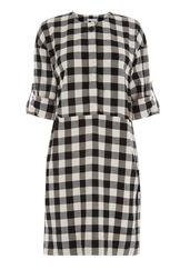 Warehouse, GINGHAM POPPER DRESS Black Pattern 0