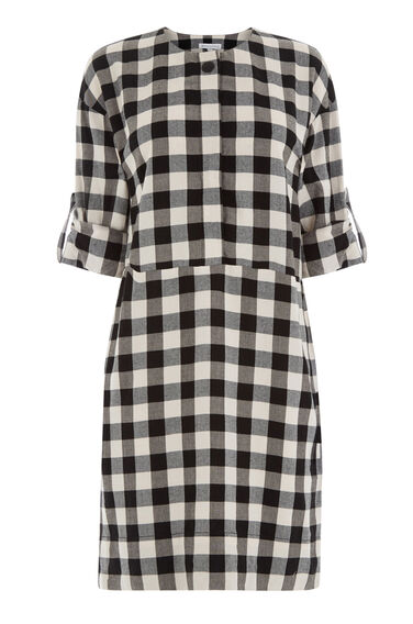 Warehouse, GINGHAM POPPER DRESS Black Pattern 0