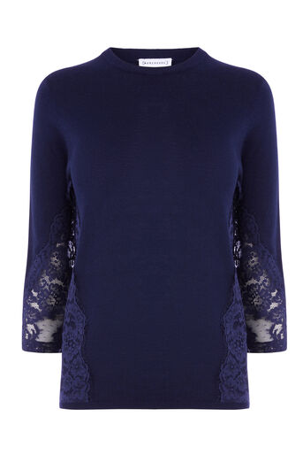 Warehouse, LACE SIDE JUMPER Navy 0