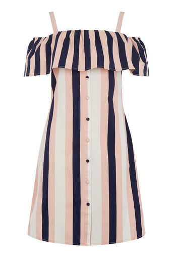 Warehouse, Stripe Ruffle Dress Multi 0