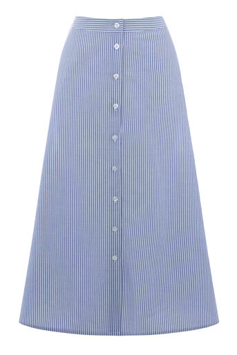 Warehouse, STRIPE BUTTON THROUGH SKIRT Blue Stripe 0