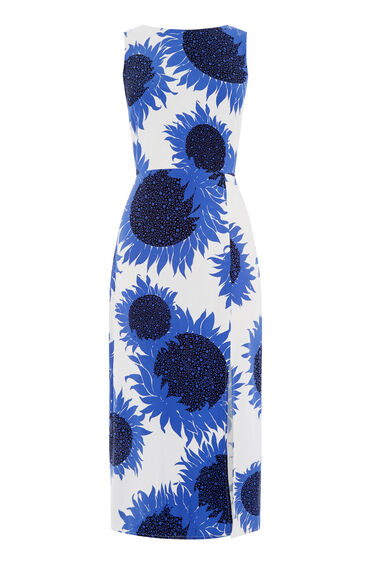 Warehouse, SUNFLOWER TIE BACK DRESS Blue Pattern 0