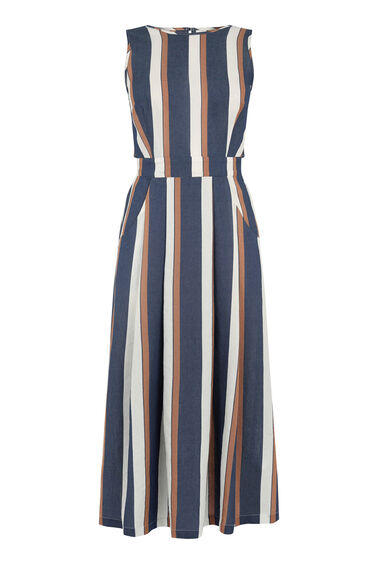 Warehouse, OPEN BACK STRIPE MIDI DRESS Grey Pattern 0