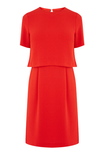 Warehouse, DOUBLE LAYER DRESS Bright Red 0