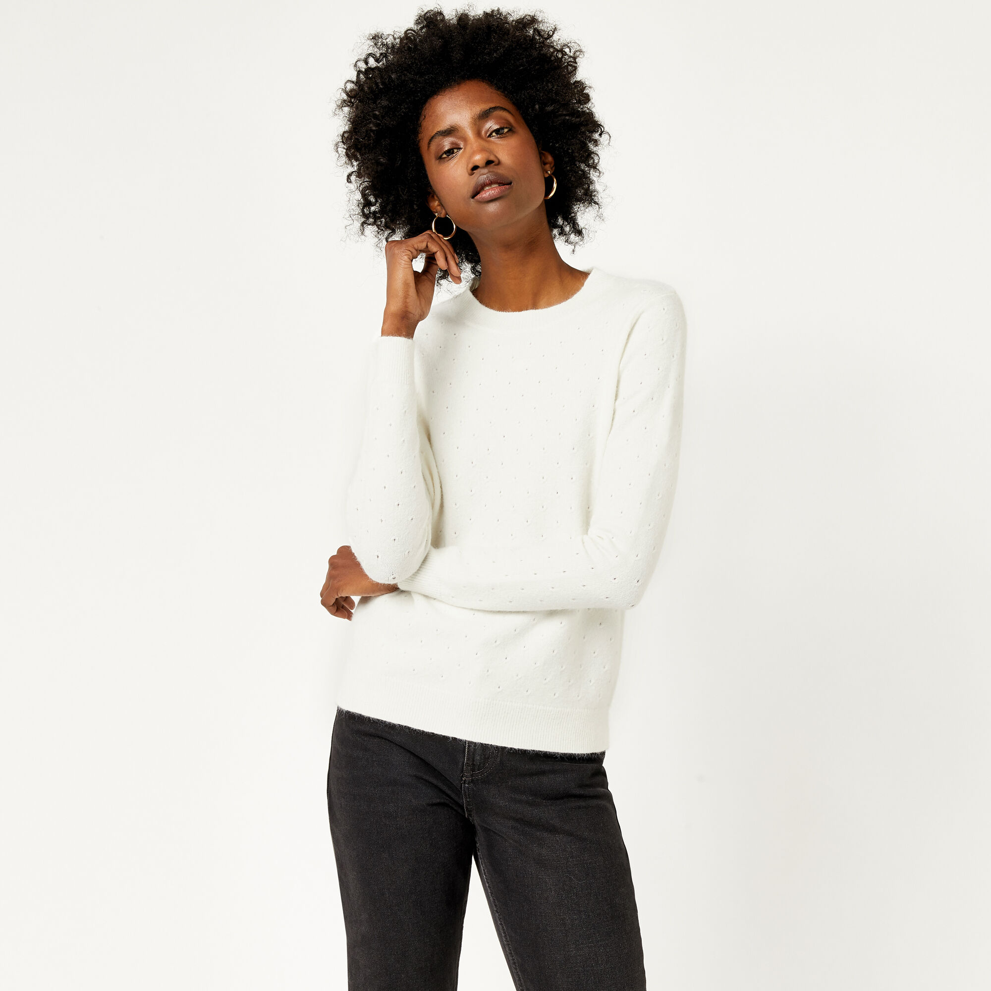 Warehouse, COSY POINTELLE JUMPER Cream 1