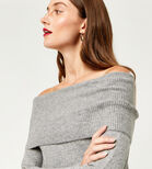 Warehouse, SOFT DEEP BARDOT JUMPER Dark Grey 4