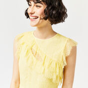 Warehouse, EYELASH FRILL DRESS Lemon 4