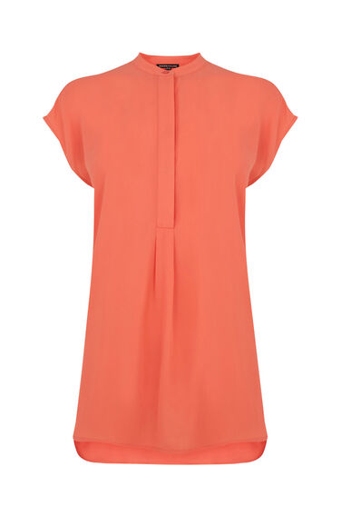 Warehouse, SLEEVELESS PLEAT BACK BLOUSE Coral 0