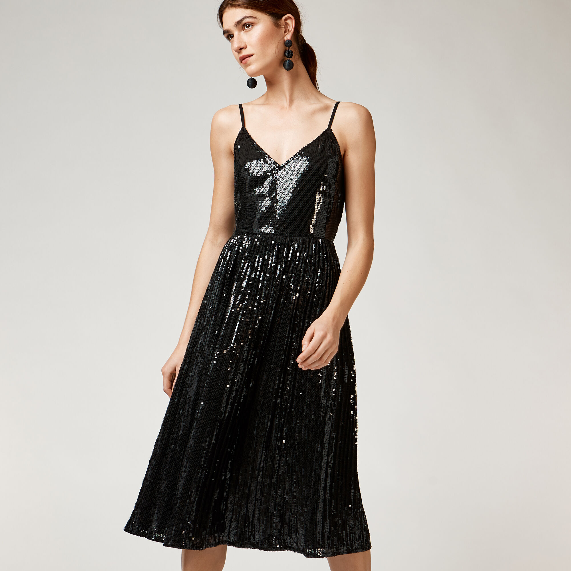 Warehouse, PLEATED SEQUIN CAMI DRESS Black 1
