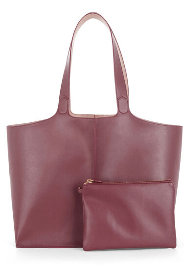 Warehouse, DOUBLE TAB DETAIL SHOPPER Berry 0