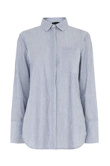 Warehouse, STRIPE COTTON SHIRT Blue Stripe 0
