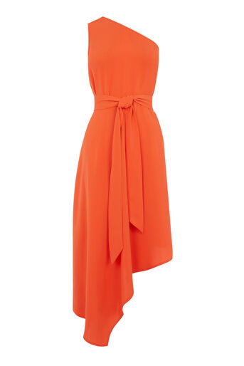 Warehouse, ONE SHOULDER DRESS Orange 0