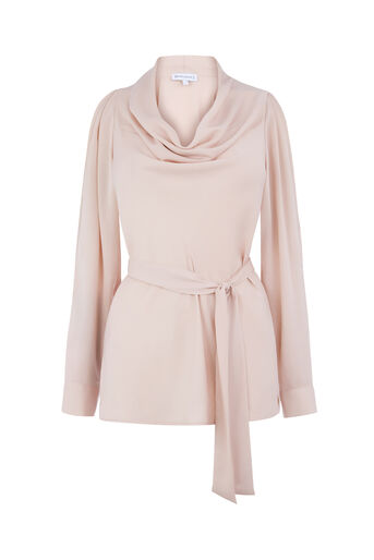 Warehouse, SATIN COWL NECK TOP Light Pink 0