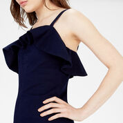 Warehouse, Ruffle Front Dress Dark Wash Denim 4
