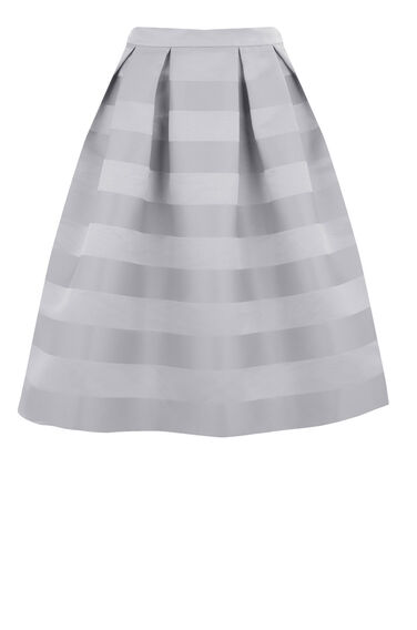 Warehouse, STRIPE JACQUARD PROM SKIRT Grey Stripe 0