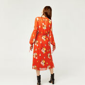Warehouse, VICTORIA FLORAL CHIFFON DRESS Orange 2