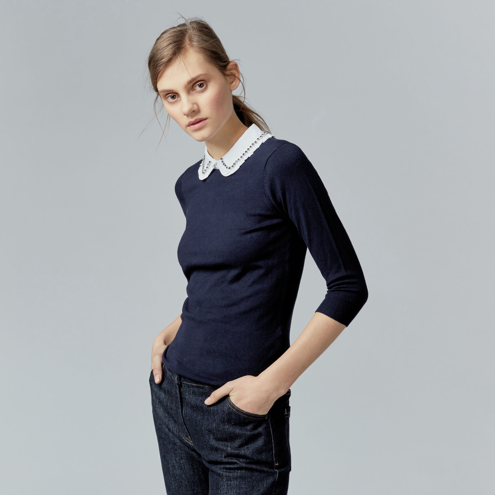 Warehouse, EMBELLISHED COLLAR JUMPER Navy 1