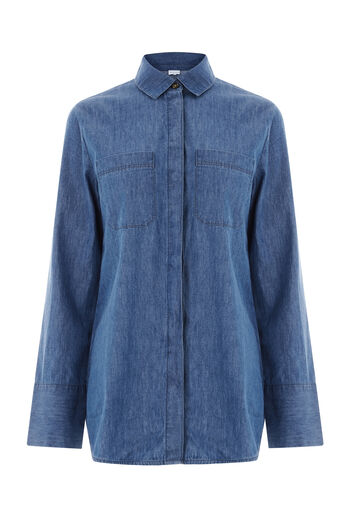 Warehouse, Pocket Detail Shirt Mid Wash Denim 0