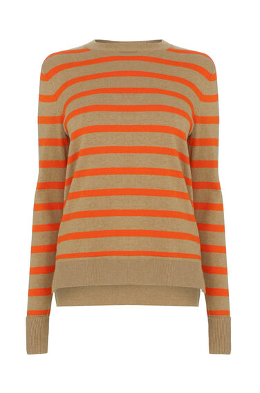 Warehouse, STRIPE BOXY CREW JUMPER Red Stripe 0