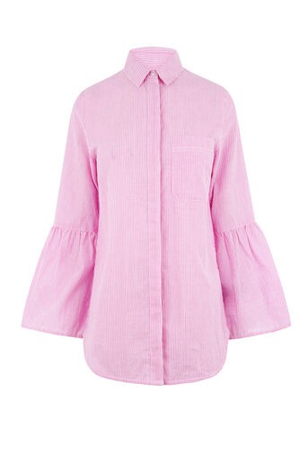 Warehouse, SEERSUCKER FLUTED CUFF SHIRT Pink Stripe 0