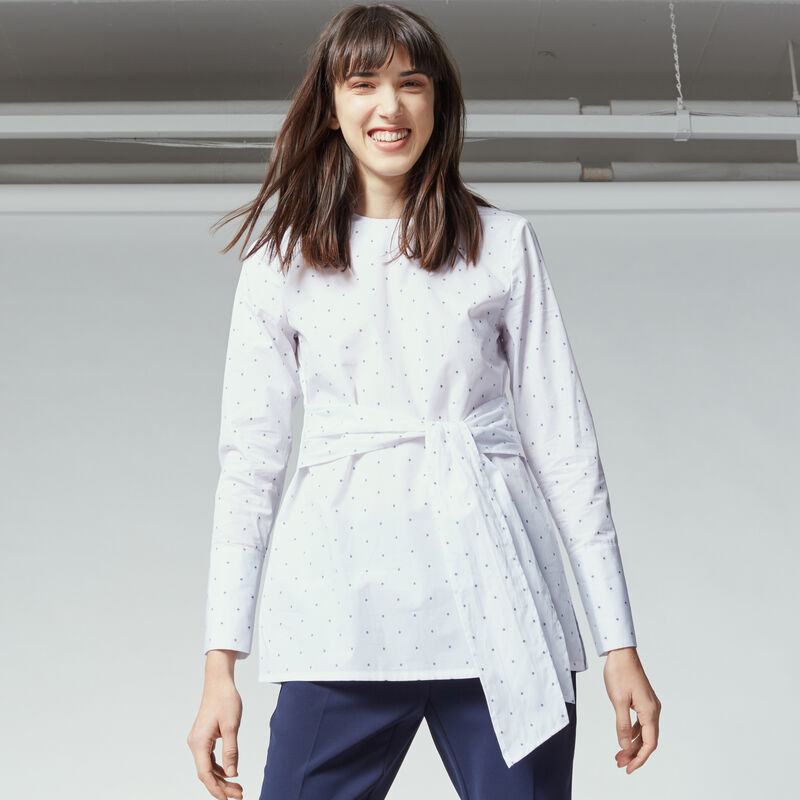 Warehouse, DOBBY TIE FRONT TUNIC White 1