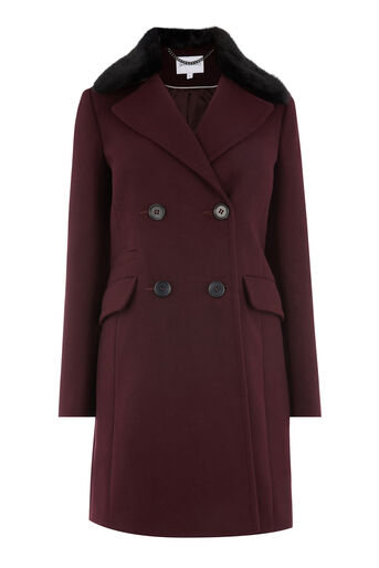 Warehouse, Double Breasted Faux Fur Coat Berry 0