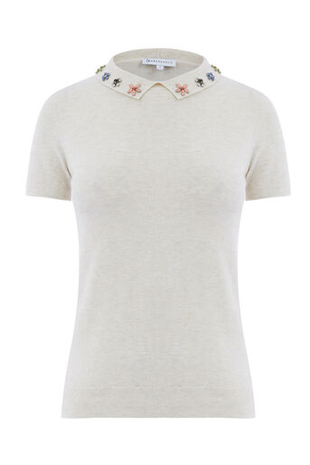Warehouse, EMBELLISHED COLLAR KNITTED TOP Cream 0