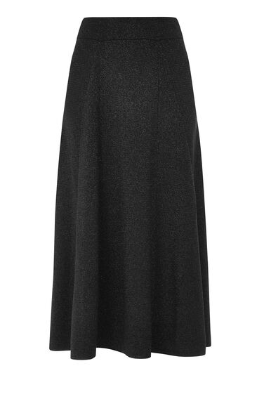 Warehouse, SPARKLE MIDI SKIRT Black 0