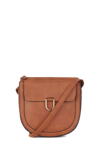 Warehouse, LARGE D RING SADDLE CROSSBODY Tan 0